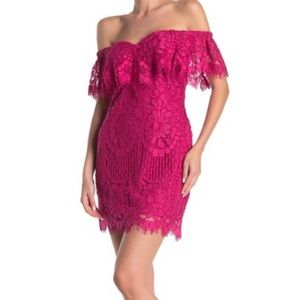 WAYF Venice Off Shoulder Pink Lace Dress